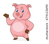 pig cartoon presenting isolated ... | Shutterstock .eps vector #674113690