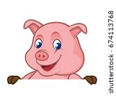 pig cartoon holding blank sign... | Shutterstock .eps vector #674113768
