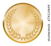 golden medal with laurel wreath ... | Shutterstock .eps vector #674114644