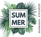 green summer tropical... | Shutterstock . vector #674118220