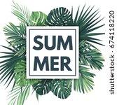 green summer tropical... | Shutterstock . vector #674118220
