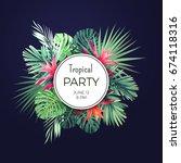 dark floral banner template for ... | Shutterstock . vector #674118316