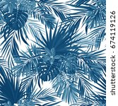 tropical background with jungle ... | Shutterstock . vector #674119126