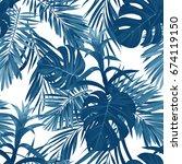hand drawn seamless floral...   Shutterstock . vector #674119150