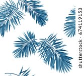 seamless indigo blue pattern... | Shutterstock . vector #674119153