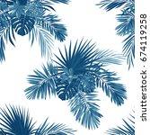 blue indigo tropical pattern... | Shutterstock . vector #674119258