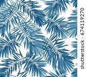 indigo seamless pattern with... | Shutterstock . vector #674119270