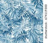 indigo seamless pattern with... | Shutterstock . vector #674119300