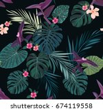 seamless tropical pattern with... | Shutterstock . vector #674119558
