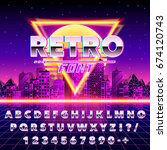 retro font vintage on the neon... | Shutterstock .eps vector #674120743