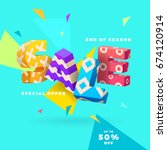 sale banner  3d letters and... | Shutterstock .eps vector #674120914