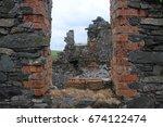 abandoned brick wall with gap