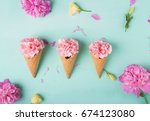Flowers In Waffle Cones On A...
