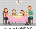 family meal.father  mother son... | Shutterstock .eps vector #674128663