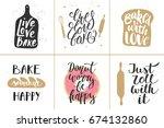 set of vector bakery lettering... | Shutterstock .eps vector #674132860