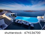 swimming pool on the hotel... | Shutterstock . vector #674136700