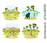 people with dogs set. flat... | Shutterstock .eps vector #674138500