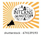 interns wanted announcement... | Shutterstock .eps vector #674139193