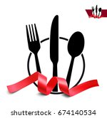 set of fork  knife and spoon... | Shutterstock .eps vector #674140534