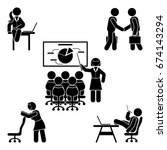 stick figure office poses set.... | Shutterstock .eps vector #674143294