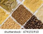 buckwheat in set of groceries...   Shutterstock . vector #674151910