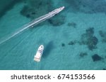 aerial view of a little yacht... | Shutterstock . vector #674153566