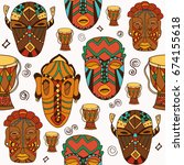 hand drawn traditional african... | Shutterstock .eps vector #674155618