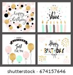 happy birthday greeting cards... | Shutterstock .eps vector #674157646