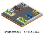 isometric cars in the parking... | Shutterstock .eps vector #674158168