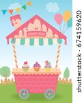cupcake house design for booth...   Shutterstock .eps vector #674159620