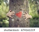 Tree Hugging  Little Boy Givin...