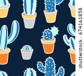 seamless pattern with cactus.... | Shutterstock .eps vector #674161858