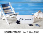 summer label with deck chair... | Shutterstock . vector #674163550