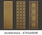 laser cut template panels set.... | Shutterstock .eps vector #674164048