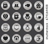 set of 16 editable heart icons. ...