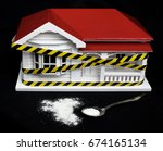 Small photo of Condemned drug contaminated home concept New Zealand NZ villa house and powdered substance that may resemble meth, methamphetamine, heroin, cocaine