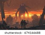 sci fi scene of couple holding... | Shutterstock . vector #674166688