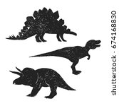 sketch of dinosaurs shapes and... | Shutterstock .eps vector #674168830