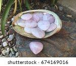 rose quartz heart shaped stones | Shutterstock . vector #674169016