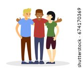 group of friends  flat... | Shutterstock .eps vector #674170369
