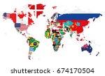 political world map vector... | Shutterstock .eps vector #674170504