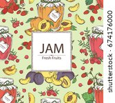 background with jar of jam with ... | Shutterstock .eps vector #674176000