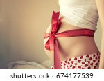 beautiful pregnant woman at home | Shutterstock . vector #674177539