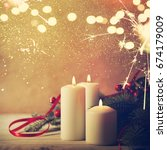 christmas candles and ornaments ... | Shutterstock . vector #674179009