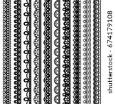 Set of vertical seamless borders for design. Black laced silhouette isolated on white background. Vector illustration.