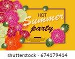 summer banner design with... | Shutterstock .eps vector #674179414