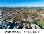 aerial view on sydney suburb... | Shutterstock . vector #674181370