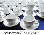 empty coffee cups stack on blue ... | Shutterstock . vector #674193814