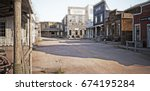 western town with various... | Shutterstock . vector #674195284