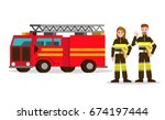 fireman and fire woman on the... | Shutterstock .eps vector #674197444